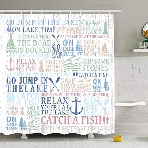 "Martine Mall Lake Time Shower Curtain Lake Words Bathroom Shower Curtain Durable Oxford Fabric Bath Curtain for Kitchen Window Curtain,70"" L × 69"" W"