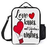 Love, Kisses, and Valentine's Wishes - Bolsa térmica para el almuerzo para mujer con aislamiento abierto, 25,4 x 20,3 x 7,6 cm, mochilas térmicas con soporte para hombres y niñas
