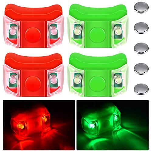 4 Piezas Luces de Proa de Barcos Luces de Navegación de Barcos LED Rojas y Verdes con 5 Pilas de Botón para Barco Kayak Pontón Aerodeslizador Yate