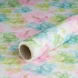 Geschenkpapier Blumen Aquarell Pastell, Kraftpapier, weiß, glatt, 60 g/m², Geburtstagspapier - 1 Rolle 0,7 x 10 m