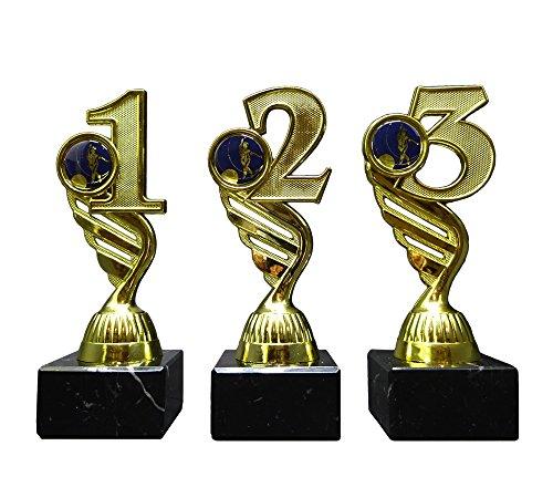 RaRu 3 Bowling-Pokale (1, 2, 3H) mit blauen Emblemen und Ihrer Wunschgravur