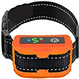 Smart Bark Collar for Dogs - 5 Adjustable Sensitivity Levels of Vibration and No Harm Shock - Upgraded with Detection Technology - Barking Dog Deterrent for Small, Large Dogs (Orange)
