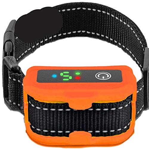 Smart Bark Collar for Dogs - 5 Adjustable Sensitivity Levels of Vibration and No Shock - Upgraded with Barking Detection Technology - Barking Dog Deterrent for Small, Large Dogs (Orange)