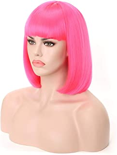 Rosa Star Short Bob Hair Wigs with Flat Bangs Straight Synthetic Colorful Costume Cosplay Wig for Women(Hot Pink)