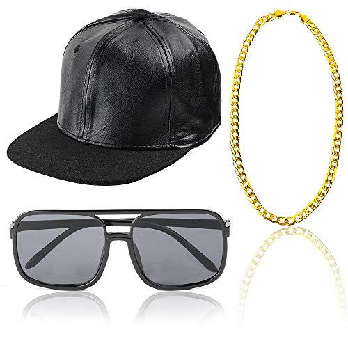 Beelittle 80 / 90er Jahre Rapper Hip Hop Kostüm Zubehör Set einstellbare Feste Flache Krempe Snapback Baseballmütze, Rapper DJ Sonnenbrillen und vergoldete Kette (D)