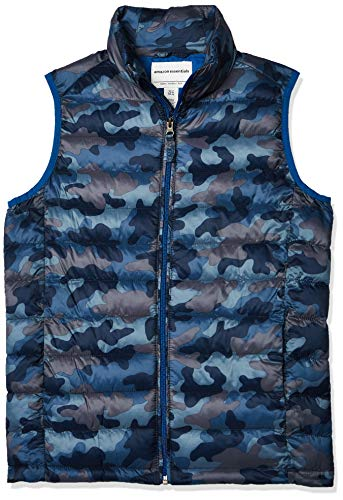 Amazon Essentials Jungen Boys' Lightweight Water-Resistant Packable Puffer Vest, blau camouflage, XS (Herstellergröße: 4-5)