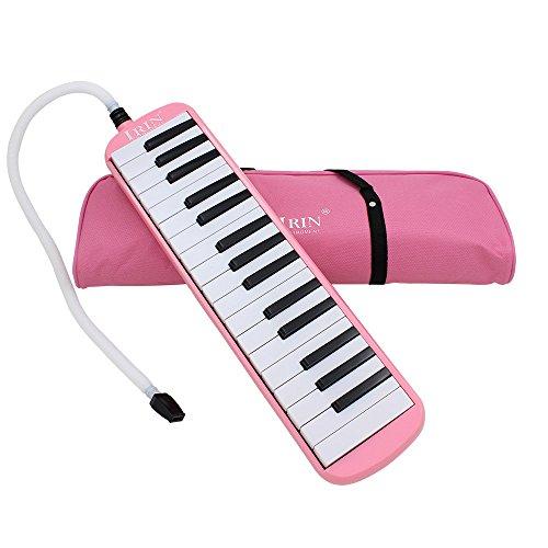 Andoer® Melodica mit 32Klaviertasten, Musikinstrument für Musikliebhaber und Anfänger, mit Tragetasche rose