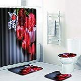WANJIA Conjunto de baño de baño Absorbente Antideslizante, Cortina de baño + tapete de baño + tapete de Piso en Forma de U + Cubierta de WC + 12 Ganchos para Cortinas de baño.W180810-D017 45 * 75cm