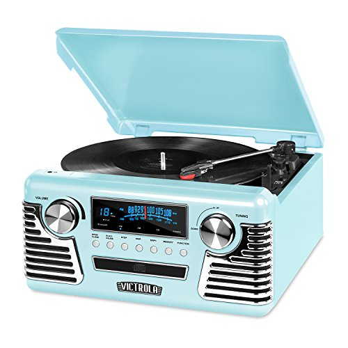 50's Retro 3-Speed Bluetooth Turntable with Stereo, CD Player and Speakers