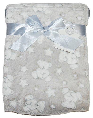 Baby Boy Girl Unisex Soft Fleece Wrap Blanket Pram Cot Crib Moses Basket Grey Star Teddy