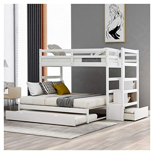 Solid Pine Bunk Beds Twin Over King Size Bed with Casters and Lockers Suitable for Family Bedroom or Apartment Dormitory Full Length Guardrail is Not Convertible No Need for Spring Box Easy Assembly