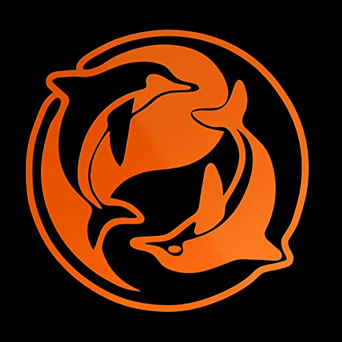 Erreinge Autocollant Prespaced Fluo orange 20cm - Tao Yin Yang Dolphins - Vinyl Decal Sticker Mural Decal Ordinateur Portable Auto Moto Casque Camper
