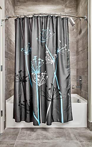 iDesign Thistle Duschvorhang | 183,0 cm x 183,0 cm großer Badewannenvorhang | waschbarer Duschvorhang aus weichem Stoff | mit Blumen-Motiv | Polyester grau/blau
