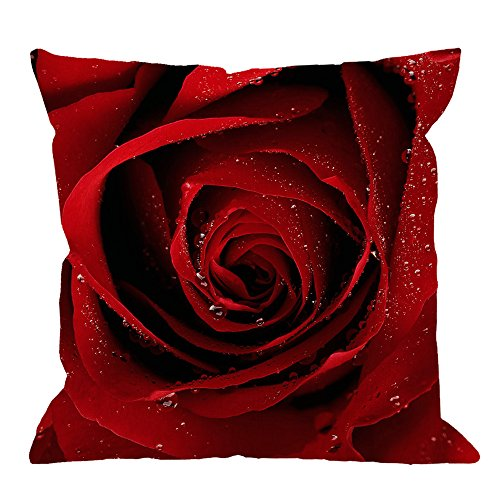 HGOD DESIGNS Throw Pillow Case Red Rose Cotton Linen Square Cushion Cover Standard Pillowcase for Men Women Home Decorative Sofa Armchair Bedroom Livingroom 18 x 18 inch