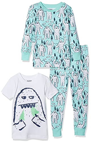 Spotted Zebra Boys' Toddler Snug-Fit Cotton Pajamas Sleepwear Sets, Pack of 3, 3-Piece Yeti, 2T, Label: 2T