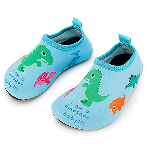 Bigib Toddler Kids Swim Water Shoes Quick Dry Non-Slip Water Skin Barefoot Sports Shoes Aqua Socks for Boys Girls Toddler, Dinosaur, 9.5 Toddler