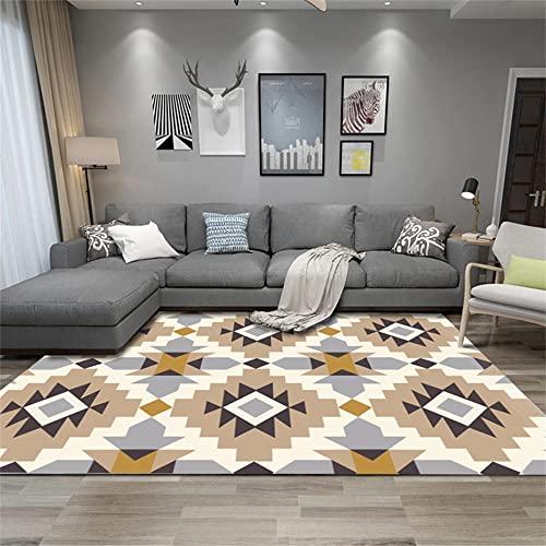 alfombras Baratas Alfombra Amarilla, tapete de Arrastre con patrón geométrico, fácil de Mantener, fácil de aspirar, Alfombra de Mesa de café alfombras para Dormitorio -Amarillo_El 140x200cm