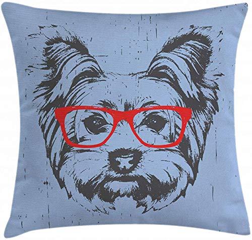 Funda de almohada de Yorkie Throw Pillow Cover, Yorkshire Terrier Retrato Rojo Nerd anteojos Teñido fondo animal, decorativo cuadrado Accent Funda de almohada 16 pulgadas x 16 pulgadas, azul pálido gris Vermilion