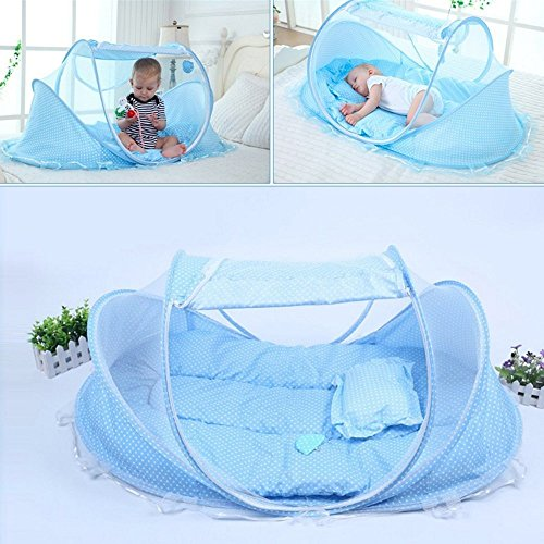 KidsTime Baby Travel Bed,Baby Bed Portable Folding Baby Crib Mosquito Net Portable Baby Cots Newborn Foldable Crib(BLUE) by KidsTime