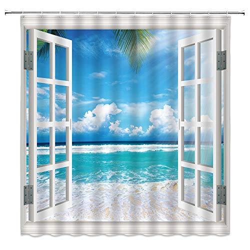 XZMAN Beach View Shower Curtain Tropical Palm Leaf Hawaiian Sea Blue Sky Cool Ocean Water Seaside Scenery Through White Wooden Window Bathroom Decor Fabric 70 x 70 Inches with Hooks