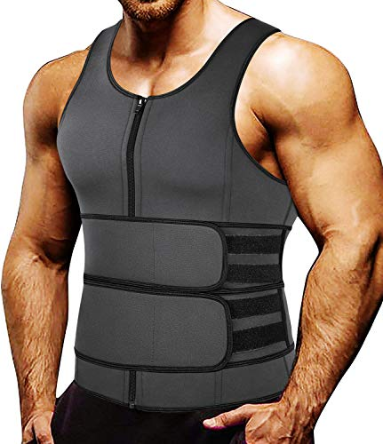 MISS MOLY Sauna Waist Trainer Vest for Men Sweat Vest with Double Trimmer Belt Workout Neoprene Body Shaper Tank Top,Gray 3XL