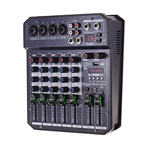 WanuigH Audio-mixer 6-kanaals mengconsole geïntegreerde 16 DSP 48V Phantom Power ondersteunt BT-aansluiting MP3-speler…