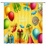 qianliansheji Cartoon-Farbiger Duschvorhang Süßigkeiten Geschenk Ballon Badezimmer Duschvorhang Kinderdekoration 178 x 178 cm (Multi 1289)
