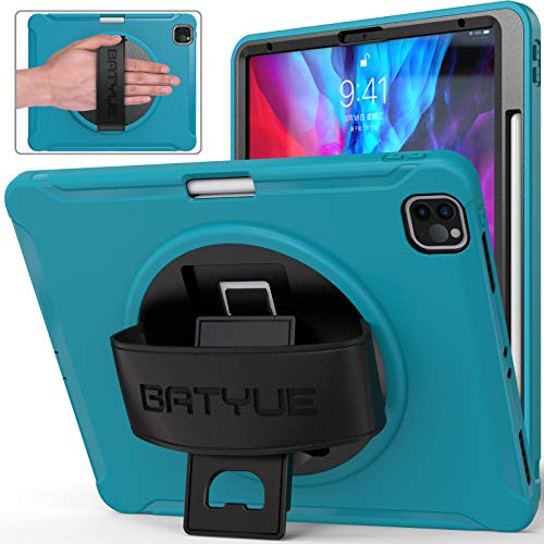 iPad Pro 12.9 Case 2020 &2018, BATYUE [Supports Apple Pencil 2 Wireless Charging] [Shock Proof] Rugged Case w/360° Rotating Stand/Hand Strap for iPad Pro 12.9 4th/3rd Generation (Light Blue)