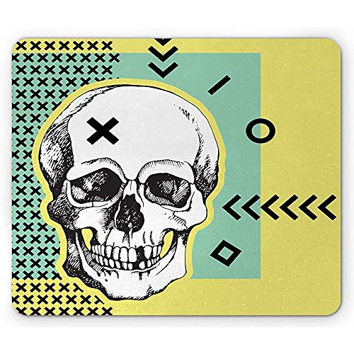 Schädel-Mausunterlage, geometrische Motive und EIN symmetrischer Hintergrund gotisches Mousepad, gelber Seafoam