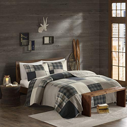 DH 3 Piece Light Grey Brown Plaid Quilt Full Queen Set, Madras Tartan Lumberjack Pattern Cabin Bedding Lodge Patchwork Gray Solid Color Hunting Themed Cottage Beige, Cotton