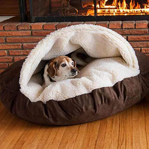 Deluxe Plush Cave Dog Bed Pod Heated Wicker Winter Warm Cushion Small/Medium Dogs Cat Calming Sleep Bag Basket Waterproof Tough Mattress Orthopedic Anti Anxiety Chew Nest