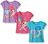 Nickelodeon Little Girls' Toddler Shimmer and Shine 3 Pack T-Shirts, Teal/Purple/Pink, 2T