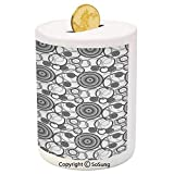 Grey Ceramic Piggy Bank,Swirling Circles in Movement Retro Style Weird Simple Modern Patterns Graphic Print Home Decorative 3D Printed Ceramic Coin Bank Money Box for Kids & Adults,Gray White