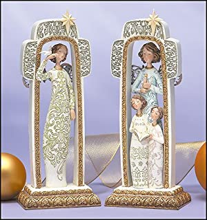 Set of Two Christmas Angels Within Cross Frame 9 inches tall