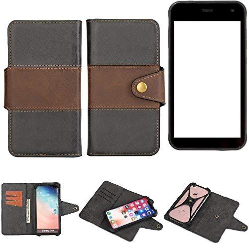 K-S-Trade® Handy-Hülle Schutz-Hülle Bookstyle Wallet-Case Für -Cyrus CS 22- Bumper R&umschutz Schwarz-braun 1x