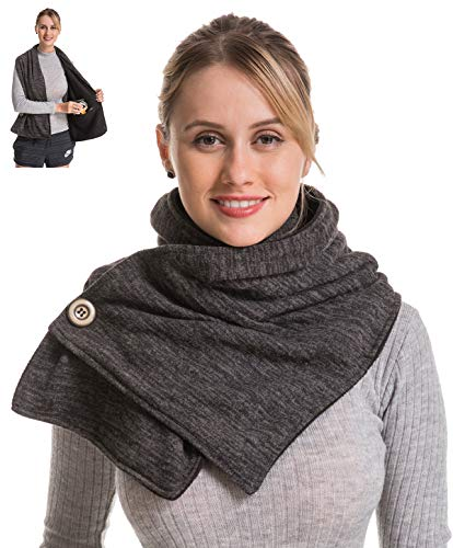 Travel Pocket Women Infinity Scarf - Black Women Men Convertible Zipper Hidden Button Winter Fall Scarf Travel, 2019 Mom Grandma Best Friend Sister Wife Girlfriend Christmas Christian Good Gift