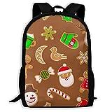 Lebkuchenmann und Weihnachtsmann Rentier und Süßigkeiten Schulrucksäcke wasserdichte Schultaschen Durable Travel Camping Rucksäcke für Jungen und Mädchen