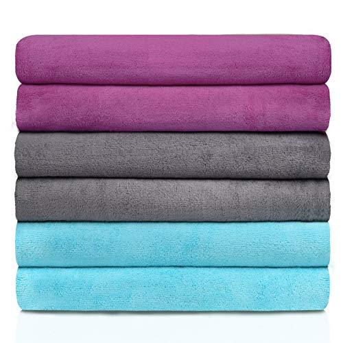 "DAKANG Microfiber Bath Towel  27"" x 55"" 6 Pack Bath Towel Sets Ultra Soft amp Absorbent Quick Dry Bath Towel for Bathroom Pool Spa and Gym"