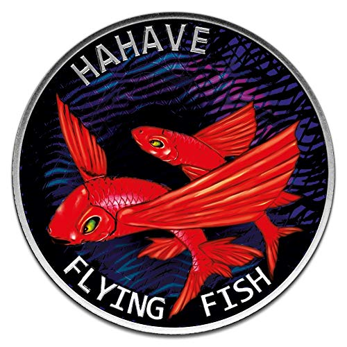 Power Coin Flying Fish Hahave Red Color 1 Oz Moneda Plata 5$ Tokelau 2020