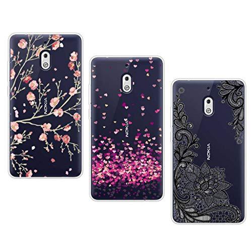 """LJSM [3 Pezzi] Cover Nokia 2.1 Trasparente Morbida Silicone Case TPU Shell Ultra Sottile Protettivo Copertura Custodia per Nokia 2.1 2018 (5.5"""") -WM84+WM85+WM108"""