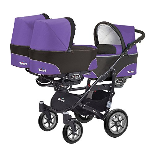 Kinderwagen für Drillinge 3 Gondeln 3 Sportsitze Trippy Kinderwagen 2in1 schwarzer Rahmen (schwarz lila 05)