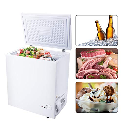 Chest Freezer 5.3 Cu.Ft Quiet, Nictemaw 6 Temp Settings from -18.4 °F to 39.2 °F Energy-Saving 0.45 kWh/day, Free Standing Compact Freezer with Removable Basket, Large Storage for Family(White)