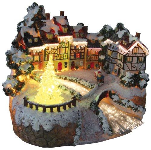 insatech Wintermärchen Fiberoptik beleuchtetes Weihnachtshaus Weihnachtsdorf mit Weihnachtsbaum