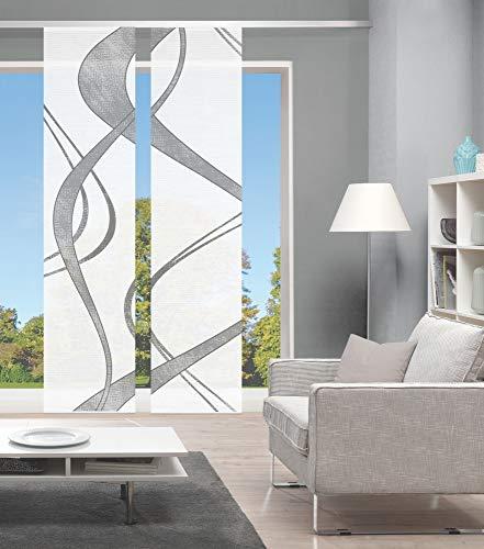 Vision S 2er-Set Schiebevorhänge TIBANO, halbtransparent, Höhe 260 cm, grau