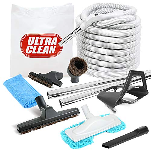 Deluxe Central Vacuum Hose and Accessories Kit Ideal for Hardwood and All Types of Bare Flooring (35ft)