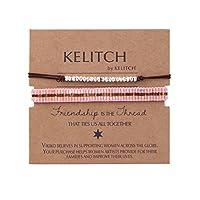 KELITCH 細いロープ ストリング バングル 腕輪 水晶 シード ビーズ シンプル スタイル ブレスレット ミサンガ 2本セット - J