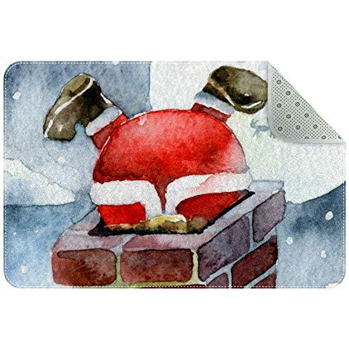 Felpudo de Papá Noel que absorbe el barro y no tiene olor, antideslizante, de perfil bajo, alfombra grande de...