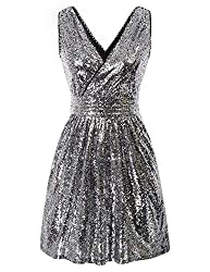 Sleeveless Short Sequin Black Silver Dress