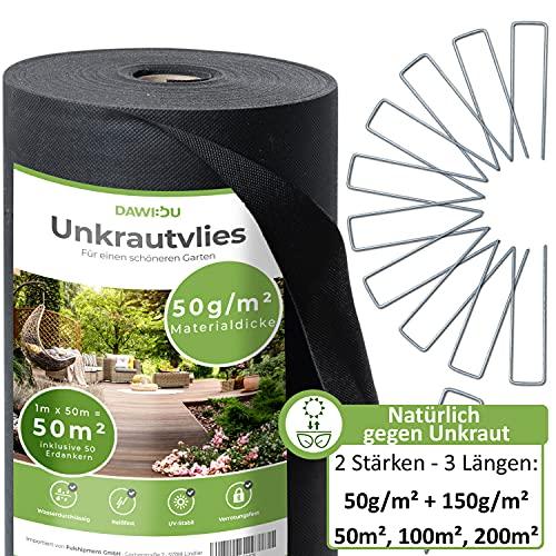 DAWIDU Gartenvlies Unkrautvlies 50g/m2 [50m²] inkl. 50 Erdanker Set - verzinkt - Natürlich gegen Unkraut - Anti Unkrautfolie & Gartenvlies wasserdurchlässig, UV stabil & reißfest