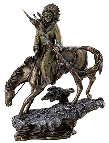 Top Collection Plains Indian Riding Roans Horse in Snowy Road Statue - Indigenous Native American Sculpture in Premium Cold Cast Bronze - 10-Inch Collectible Figurine